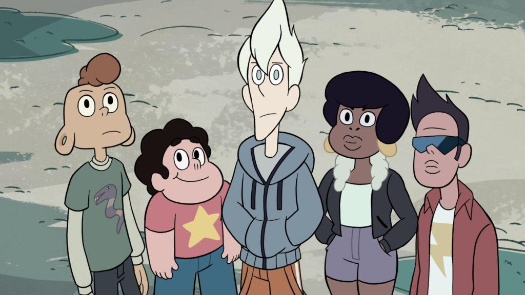 (Zeichentrick) Eine Gruppe von Jugendlichen aus Steven Universe steht zusammen. Es sind sehr unterschiedliche Hautfarben, Körperformen, Frisuren, Kleidungsstile zu erkennen.