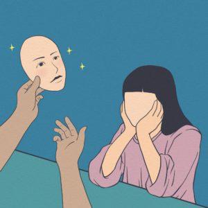 Eine Frau ohne Gesicht wird von einer Hand ein Gesicht gereicht