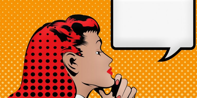 Popart Bild von einer Frau und einer leeren Sprechblase